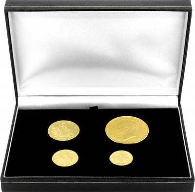 Boxed Set of 4 Una & the Lion Gold Replica Coins