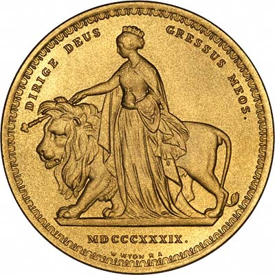Reverse of Replica Una & the Lion Gold Five Pounds