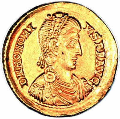 Byzantine Gold Solidus of Valentinian II