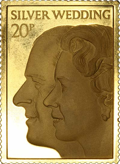 1972 Gold Royal Silver Wedding Stamp Medallions