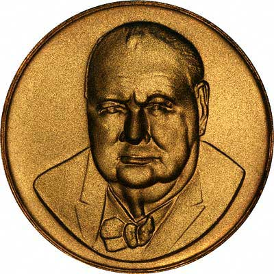 Sir Winston Spencer Churchill on Obverse of 1965 Gold Medal by John Taylor