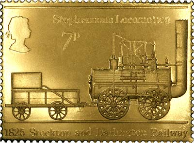 1975 Stephenson's Locomotion, 1825 Stockton & Darlington Railway Gold Seven Pence Stamp Replica