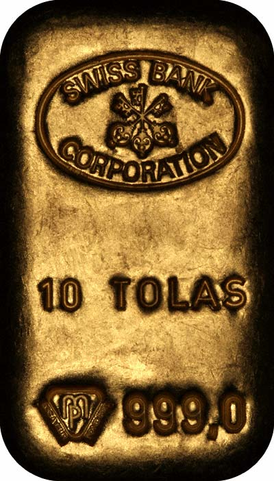 Obverse of Swiss Bank Corporation 10 Tolas Gold Bar