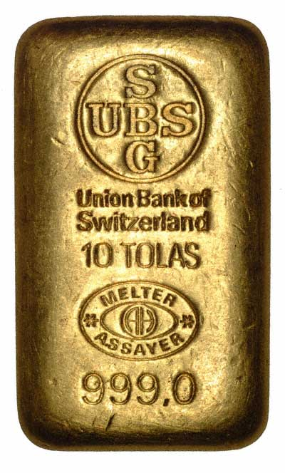 UBS 10 Tola Gold Bar