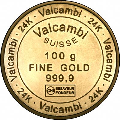 Obverse of Valcambi Suisse 100gram Gold Bar