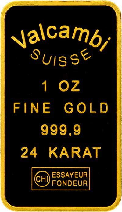 Valcambi Suisse 1 ounce Cast Gold Bar