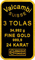 Three Tola Gold Bar