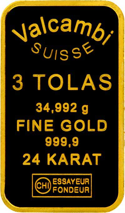 Valcambi Three (3) Tola Gold Bar